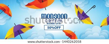 vector illustration,poster for Monsoon season, sale banner,sale