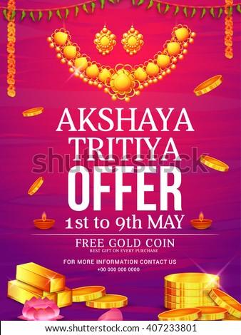 Vector illustration,poster or Banner of Akshaya Tritiya celebration background. #407233801