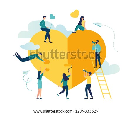 Vector illustration, preparation for Valentine's Day, teamwork, big heart, love holiday symbol - Vector
