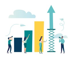 Vector illustration, prepare the launch of a business project. rise of career to success, flat color icons, business analysis, take-off scale up