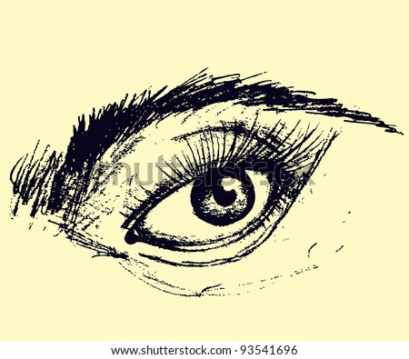 Vector illustration, pretty sketch of an eye, card concept.