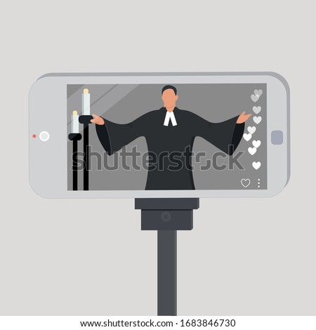Vector illustration, Priest Pastor conducting church service online, Online church, Pastor filming himself by church worship in Internet, Virtual Worship services, working online, church service