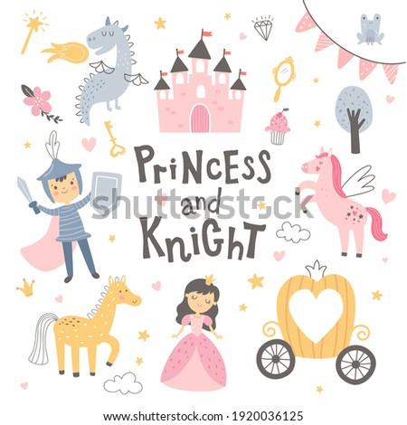 vector illustration, princess and knight image, fairy tale elements for kids parties Foto stock ©