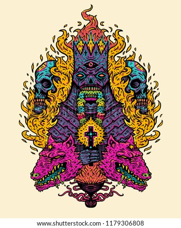 7eb61a988 Psychedelic wavy texture. Vector illustration print. Demon king with  burning cross, on the background of the flames