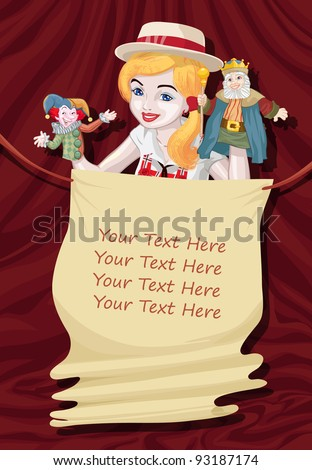 Vector illustration, puppet theater invitation, card concept.