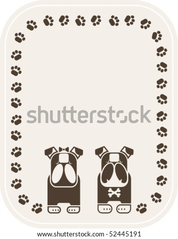 vector illustration puppy love, logo design