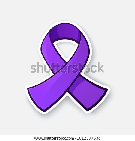 Vector illustration. Purple ribbon, awareness of interpersonal violence and abuse prevention. Spirit Day and victims of homophobia. Month of the Military Child. The problem of Alzheimer's disease