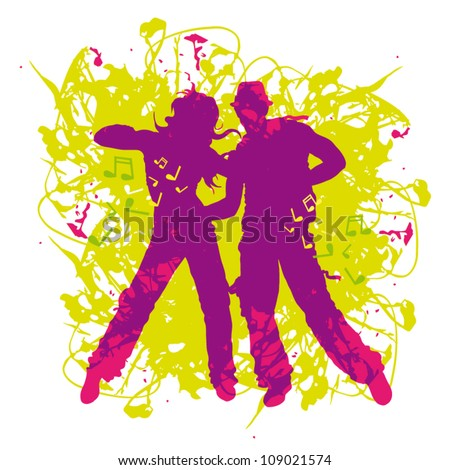 Vector illustration purple silhouette dancing couple on abstract background