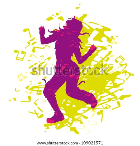 Vector illustration purple silhouette dancing girl on abstract background - stock vector