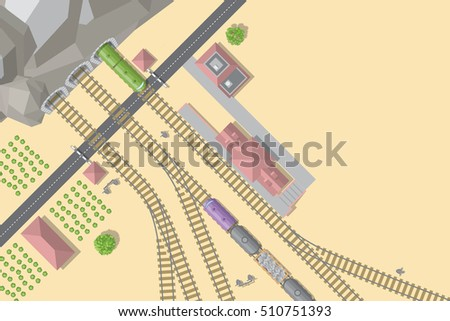 Vector illustration. Railroad and train station. (Top view) Tunnel, railway, road, station, trains, buildings. (View from above)
