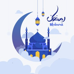 Vector Illustration Ramadan Kareem The Holy Month Muslim Feast Greeting Card with calligraphy text night crescent moon and Lantern for pray at night. Web landing page template, banner and social media