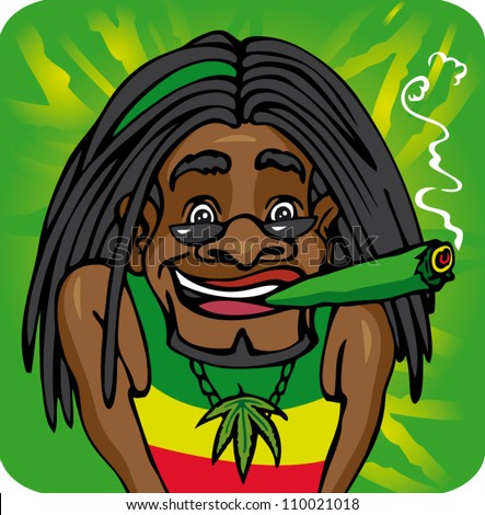 Vector illustration rastafarian with dreadlocks smoke