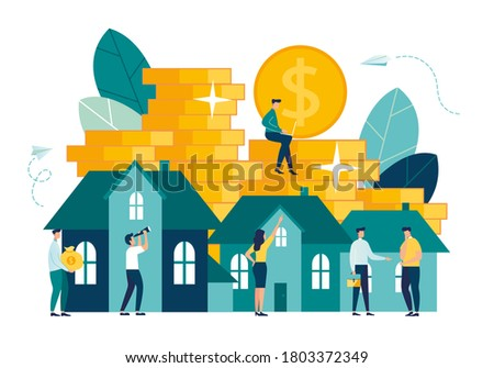 Vector illustration, real estate business concept with houses, market growth, real estate investment, home purchase, home presentation vector