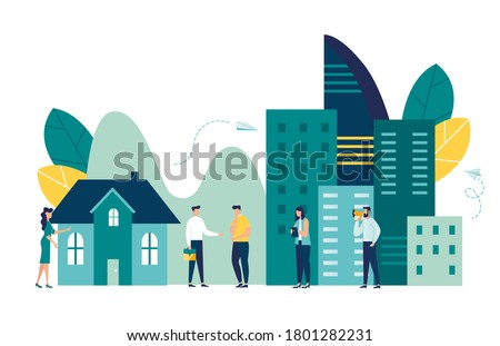 Vector illustration, real estate business concept with houses, real estate market growth, exchange of living space, presentation of a house, house for an apartment