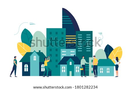 Vector illustration, real estate business concept with houses, real estate market growth, exchange of living space, presentation of a house, house for an apartment vector