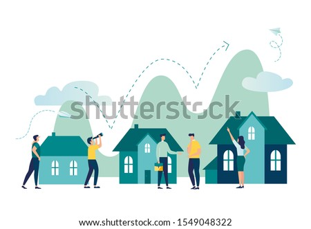 Vector illustration, Real estate business concept with houses, rising real estate market, increasing the value of houses and square meters vector