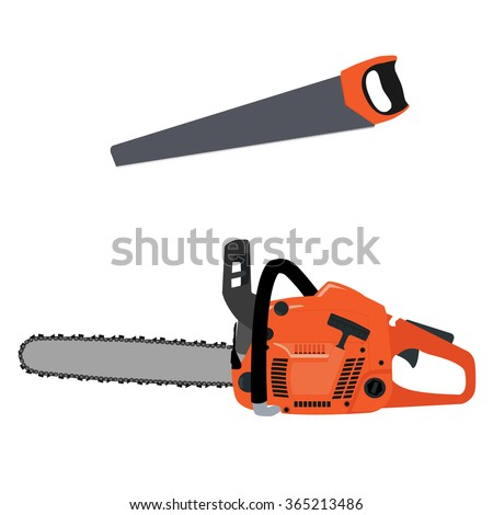 Vector illustration realistic chainsaw and hand saw. Petrol chain saw. Professional instrument, working tool. Chainsaw icon