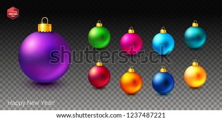 Vector illustration. Realistic objects. Set of shiny and bright colored Christmas balls on transparent background. Additional Happy New Year text  and red hexagonal Merry Christmas 2019 label.