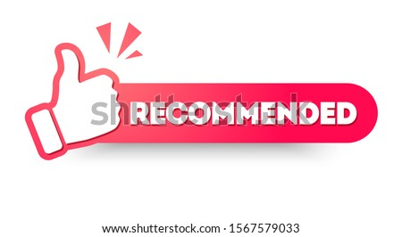 Vector Illustration Recommended Label With Thumbs up. Modern Web Banner Element Foto stock ©