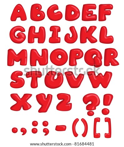 Vector illustration, red alphabet, education concept, white background.