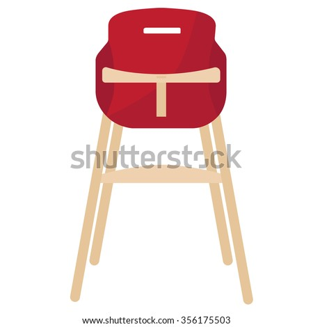 Vector illustration red baby chair for feeding. High wooden chair.  Stock foto ©