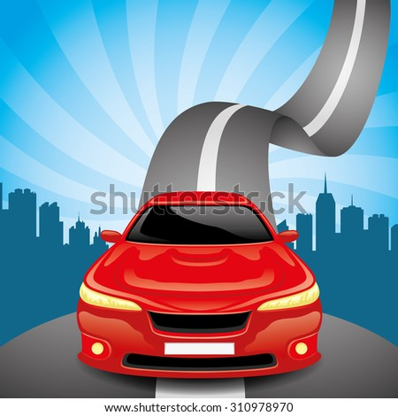 Vector illustration. Red car on the road.