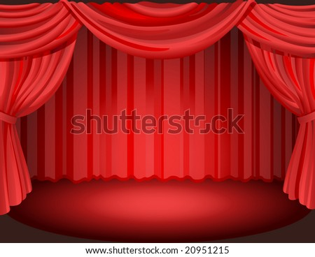 Vector illustration - Red curtains on a stage.