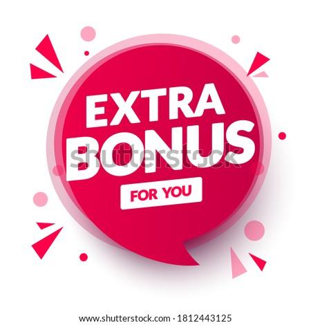 Vector Illustration Red Extra Bonus For You Speech Bubble. ストックフォト ©