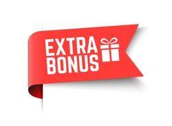 Vector Illustration Red Extra Bonus Label. Modern Web Banner Element With Gift.