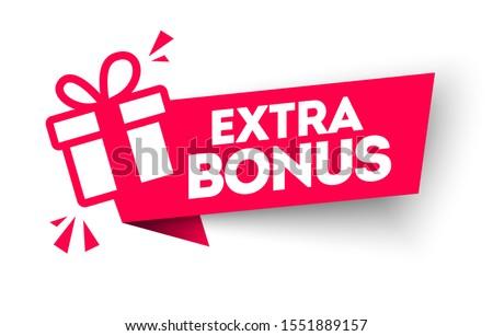 Vector Illustration Red Extra Bonus Label. Modern Web Banner Element With Gift. Foto stock ©