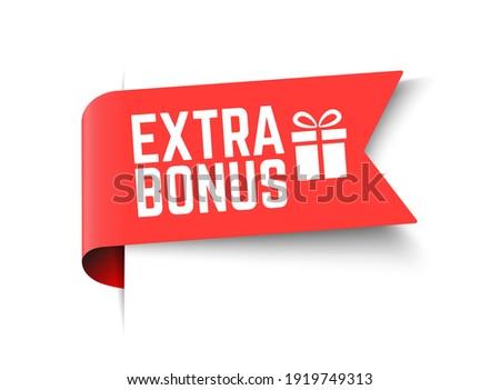 Vector Illustration Red Extra Bonus Label. Modern Web Banner Element With Gift.  ストックフォト ©