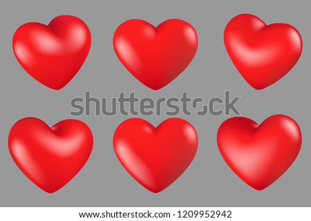 Vector Illustration, Red hearts different 6 rotation