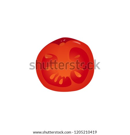 Vector illustration, red realistic tomato without outline