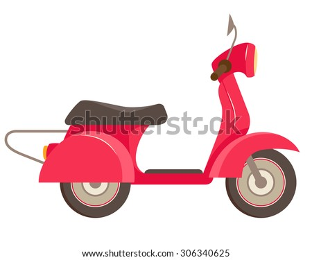 vector illustration red scooter