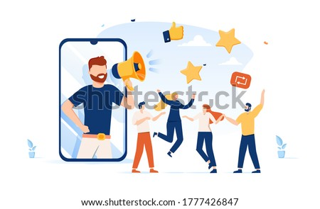 Vector illustration, referral marketing concept, friends loyalty program, promotion method. Invite promotion, repost, feedback or refer a friend vector illustration isolated on white. Marketing online