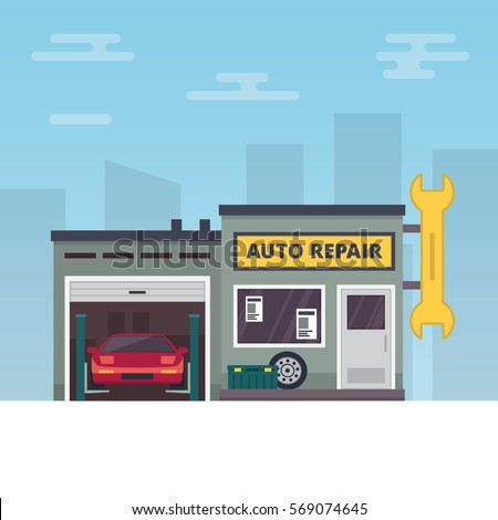 Vector Illustration representing Car service and repair building or garage.