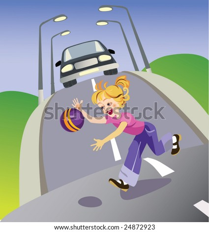vector illustration representing the girl with a ball run out on road. For training of children to behavior rules in the street