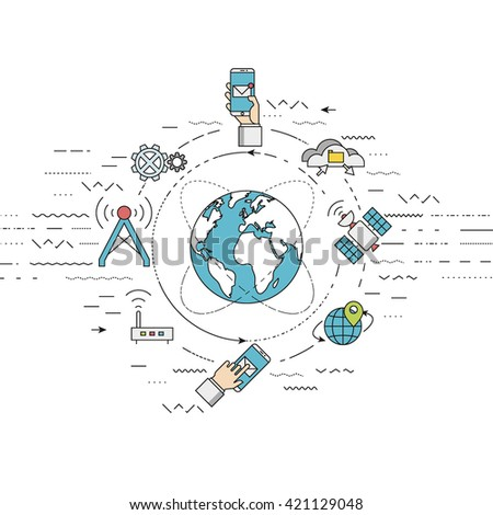 Vector illustration represents telecommunication concept, mobile technology and global internet network concept. Flat, thin line style , EPS 10.