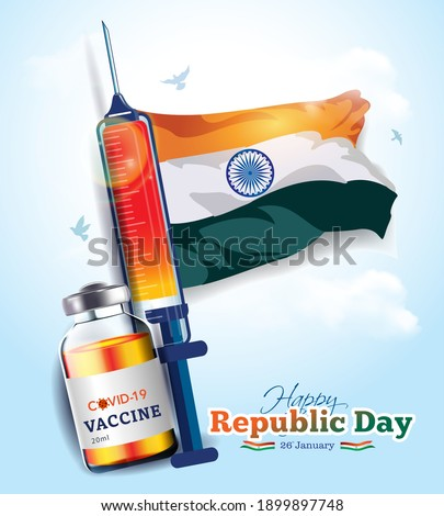 vector illustration, Republic day of India background with Indian flag and Covid 19 immunity vaccine ideas concept, presentation, growth showoff, Indian army parade, technology success