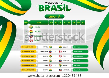 Vector illustration results and standing tables scoreboard championship tournament in Brasil. CONMEBOL Copa America 2019. Broadcast template. Soccer 2019 championship tournament.