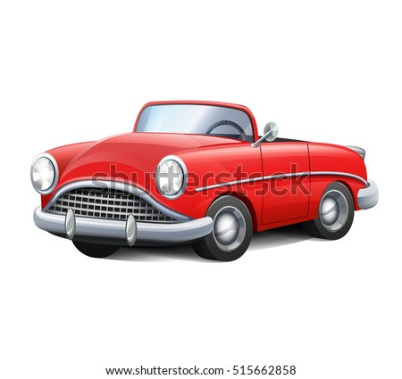 Vector illustration retro car red convertible vintage cartoon realistic style icon.