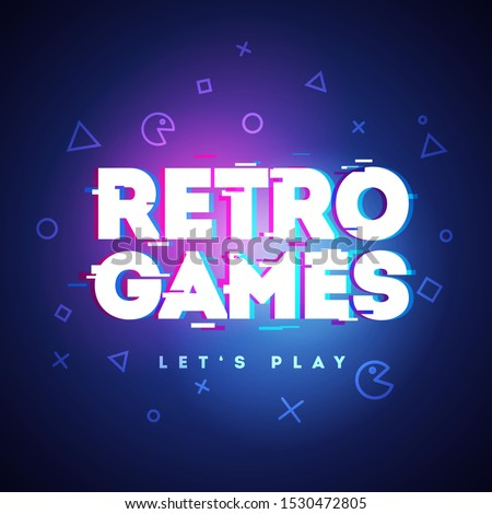 Vector Illustration Retro Games Neon Sign. Game Logo With Glitch Effect.