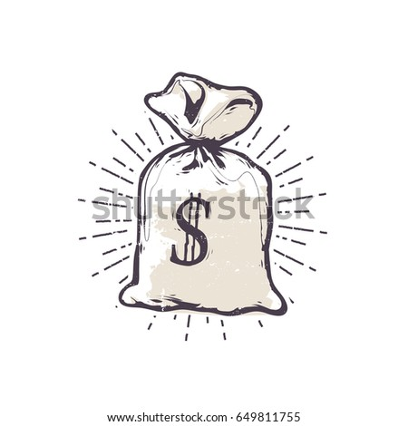 Vector illustration - Retro money bag isolated icon