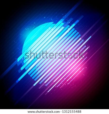 Vector Illustration retro 1980's glowing neon sun glitch distortion effect
