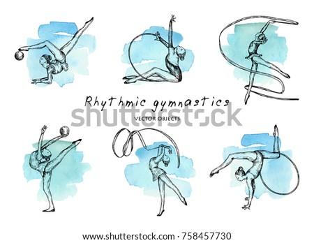 Vector illustration. Rhythmic gymnastics set. Girls gymnasts on watercolor background. Pen style vector sketch.