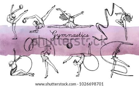 Vector illustration. Rhythmic gymnastics set. Girls gymnasts. Pen style vector sketch.