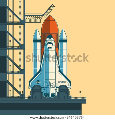 vector illustration rocket is