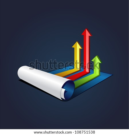 vector illustration roll of blue paper with colorful graph or diagram with arrows