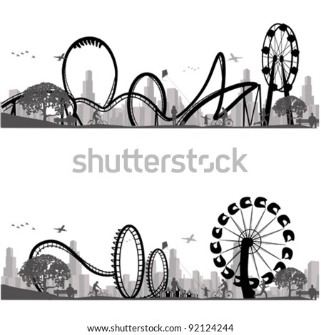 Vector illustration.Roller Coaster Silhouette - stock vector