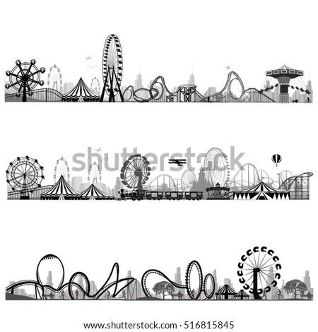 Vector illustration.Roller Coaster Silhouette .Carousel